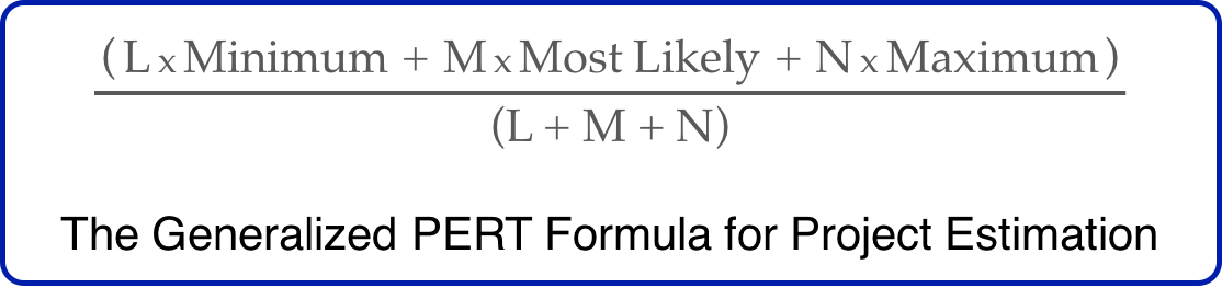 The Generalized PERT Formula for Project Estimation