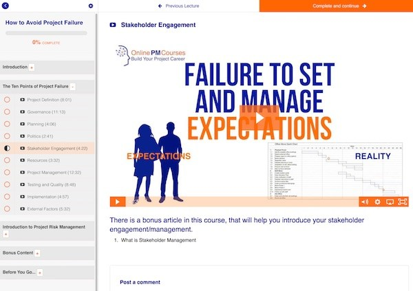 Avoid Project Failure course screenshot