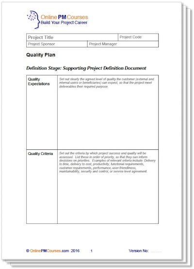 Project Quality Plan Template